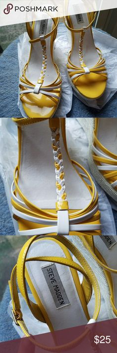 "☀️Steve Madden Yellow and White Wedges☀️ Yellow and white Steve Madden wedges with 4"" heels. Braided T-Strap and double ankle straps. Steve Madden Shoes Wedges"