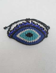 Evil eye with eyelashes macrame bracelet,all seeing eye,adjustable,macrame eye
