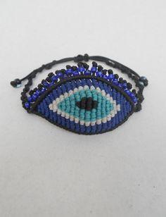 Evil eye with eyelashes macrame bracelet,all seeing eye,adjustable,macrame eye