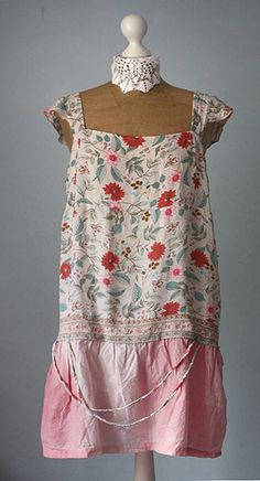 Upcycled Dress pastel colours floral pattern by GreenHouseGallery, $55.00