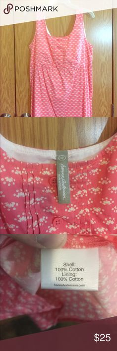 """Hanna Anderson Pink w/ White Sundress NWOT! Beautiful, soft, cotton sundress. Measures app 32.5"""" from back of neck to bottom of dress and 19"""" from underarm to underarm. Hanna Andersson Dresses Midi"""