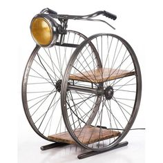 Bicycle Floor Lamp Are Cool Gifts for Cyclists and woman cyclists at Smithers up cycling furniture store uk. Industrial Bar Stools, Vintage Industrial Lighting, Industrial Furniture, Car Furniture, Iron Furniture, Diy Floor Lamp, Vintage Sideboard, Metal Chairs, Vintage Bicycles