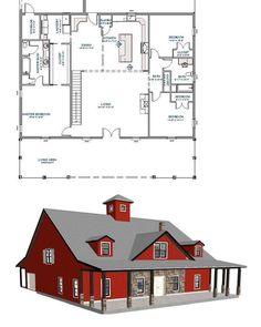 Conceptual plans for a barndominium project in TN e we are currently working on. Barn Homes Floor Plans, Pole Barn House Plans, Family House Plans, Pole Barn Homes, Ranch House Plans, New House Plans, Dream House Plans, Small House Plans, House Floor Plans