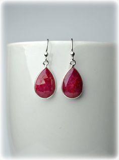Genuine Ruby Earrings in Sterling Silver 925 #ruby #rubyearrings #birthstone #july #earrings #dropearrings #redearrings #gift #women #womensfashion