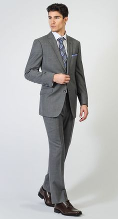 2 Button Notch Modern Light Blue Stripe- Grey Men's Suit. Maintain a dashing sense of style with the Benicia modern-fitted men's suit by Bachrach.