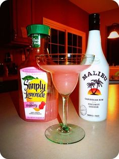 raspberry simply lemonade malibu rum ice and blend. I just bought this Simply..
