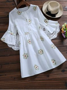 Floral Embroidered Flare Sleeve Dress - WHITE S Mobile