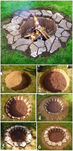 Rustic DIY fire pit, DIY garden projects and garden ideas, DIY garden ideas . Landscaping Backyard On A Budget, Landscaping Around Trees, Backyard Projects, Front Yard Landscaping, Garden Projects, Landscaping Ideas, Privacy Landscaping, Diy Projects, Patio Ideas
