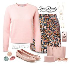 """Pink cashmere sweater"" by puppylove7 on Polyvore featuring Chantecaille, La Mer, WALL, Dorothy Perkins, Salvatore Ferragamo, Kate Spade, Lydell NYC, Casetify, Chanel and Tory Burch"