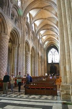 Durham Cathedral, England, has decorated masonry columns alternating with piers of clustered shafts supporting the earliest pointed high ribs. Romanesque architecture - Wikipedia, the free encyclopedia Romanesque Art, Romanesque Architecture, Renaissance Architecture, Roman Architecture, Ribbed Vault, St Johns College, Durham Cathedral, High Renaissance, Byzantine Art