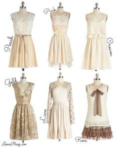 Vintage Dresses | Neutral Colors, Lace, and Gold!
