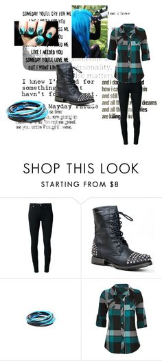 """""""Black Black and Blue"""" by simply-ally01 ❤ liked on Polyvore featuring BLK DNM, ZooShoo, Full Tilt and Love Quotes Scarves"""