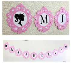 Barbie Name Banner Pink and Black Princess Barbie by GoodNewsLane Barbie Theme Party, Barbie Birthday Party, Birthday Party Themes, Diy Birthday Banner, Diy Banner, Birthday Decorations, Barbie Bachelorette, Princess Barbie, Name Banners