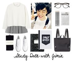 """Study Date with Jimin"" by btsoutfits ❤ liked on Polyvore featuring Muji, Illesteva, Monki, H&M, Falke and Kate Sheridan"