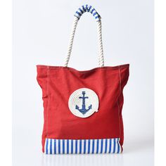 Red Anchor & Stripe Nautica Canvas Beach Tote ($42) ❤ liked on Polyvore featuring bags, handbags, tote bags, red, canvas beach tote bag, zippered tote, handbags totes, zip top tote and canvas tote bag