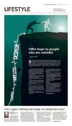 """""""Offer Hope to People Who are Suicidal"""" @EagleGazette Lifestyle designed by Sommer Torabi. (12.13.15) #newsdesign"""