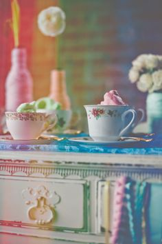 Rainbow + Bowtie Wedding Ideas - Blog - RENT MY DUST Vintage Rentals ~ mismatched teacup and saucer