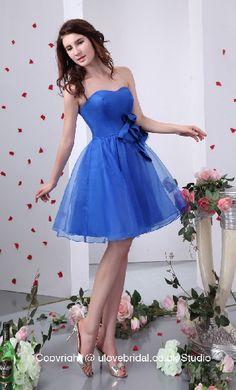 2013 Faddish Sweetheart Royal Blue Flower Organza Cocktail / Prom Dress