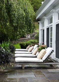patio with hill in back