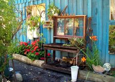"""Perfect potting benches!  Julie Scherbarth says, """"My side yard with potters bench my husband made."""""""