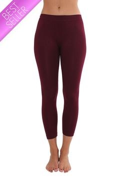 Seamless Long Capri Leggings - Burgundy