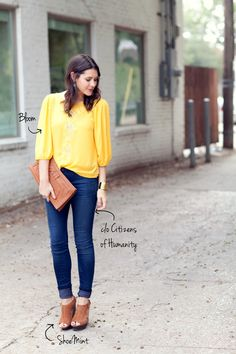 Love the whole outfit, color of the shirt, clutch, shoes, accessories, everything!