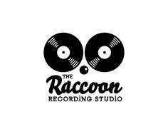 The Raccoon - Recording Studio logo design: vinyl, music, dj