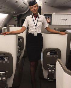 British Airways Cabin Crew, Airline Cabin Crew, Flight Attendant Life, Black Stockings, These Girls, Short Skirts, Sexy Women, Feminine, Dream Job