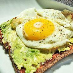 Avovado, toast and egg breakfast