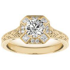 Transcendent Brilliance Vintage Style Square Halo Diamond Engagement Ring 3/4 TDW (Yellow - Size 4.25), Pink