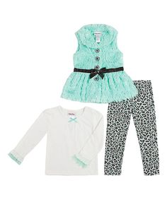 Little Lass Mint & Black Sequin Faux Fur Vest Set - Infant | zulily