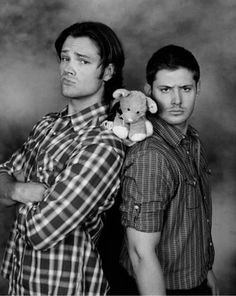 Jensen's manly face along with Jared's mhmmm face equals one adorable yet confused stuffed animal
