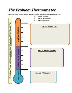 The Problem Thermometer Everything can fit into 3 problems: Huge, Medium, or Small Our reactions should match the severity of the problem. We will talk together about problems and using a laminated version of this, we'll write problems in each grey area. Counseling Worksheets, Therapy Worksheets, Counseling Activities, Therapy Activities, School Counseling, Coping Skills, Social Skills, Problem Solving Skills, Therapy Tools