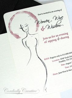 Illustrated Wine Invitation with Black Envelope for Bachelorette Party, Birthday Party or other Celebration via #Etsy, by www.cordiallycreative.com