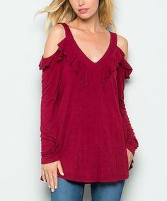 Loving this Burgundy Crisscross-Back Cold-Shoulder Top on #zulily! #zulilyfinds