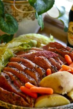 This traditional Irish dish is the centerpiece for St. Corned beef and cabbage simmer with potatoes and carrots for a hearty dinner. Irish Recipes, Beef Recipes, Recipies, Cooking Recipes, Cornbeef And Cabbage Recipe, Irish Bread, Corn Beef And Cabbage, Corned Beef, Beef Dishes
