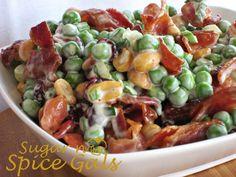 Crunchy Pea Salad - Sugar n' Spice Gals