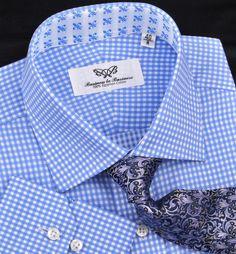 Blue Gingham Check Formal Business Dress Shirt Italian Floral Fleur-De-Lis Style #BusinesstoBusiness #Italian