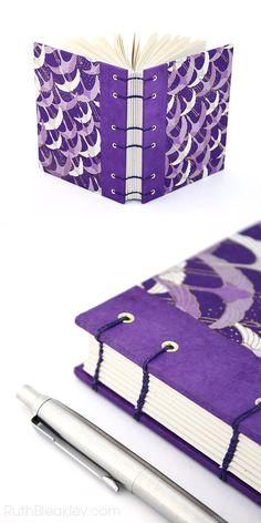 Coptic Stitch Journal - Purple Crane Chiyogami Handmade Book