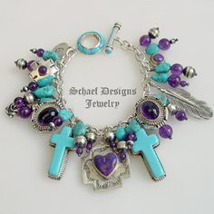 Turquoise Amethyst & Sterling Silver Native American Charms Bracelet