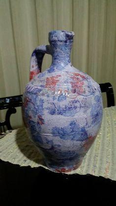 saksı çiçek çatlatma peçete boyama sanat ahşap boyama çömlek saksı mavi kırmızı