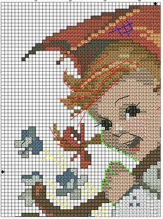 """Umbrella Girl"" Hummel cross stitch pattern  -  1A"