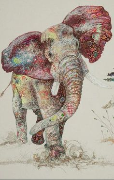 Sophie Standing - Textile Art - appliqué and machine embroidery combined - amazing! This is beautiful and so creative. I love the playful feel captured by the artist! Art And Illustration, Illustration Animals, Street Art, Elephant Art, Elephant Life, African Elephant, Zentangle Elephant, Tattoo Elephant, Colorful Elephant