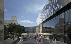 PHC planning visual - the centre viewed from the top of Tavistock Place Planning Applications, Tavistock, Central Library, Image Shows, Plymouth, New Pictures, Marina Bay Sands, Multi Story Building, Centre