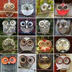 lots of recycled/art owls. Owl Crafts, Diy And Crafts, Crafts For Kids, Arts And Crafts, Garden Owl, Garden Crafts, Moon Garden, Yard Art Crafts, Garden Ideas