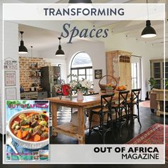 Transforming Spaces Get inspired with OUT OF AFRICA Magazine. This months home renovation story sees the transformation of an old and slightly dilapidated farmhouse into a stylish modern home without destroying its inherent charm and rustic character. Buy June 2016 OUT OF AFRICA Magazine - OUT NOW! See more at http://ift.tt/1U6C1sm