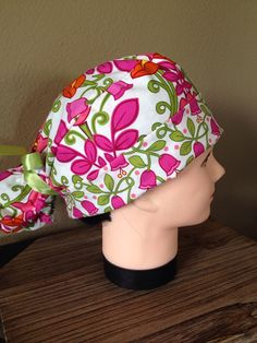bce01fbd22c Cotton Surgery Scrub Hat - Lilli Bell Vera Bradley Pink flowers with green  ribbon