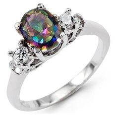 14k White Gold Round CZ Oval Mystic Fire Topaz Ring