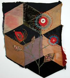 Mandy Pattullo/Thread and Thrift: Embroidered Flower on Tumbling Blocks Quilt Fragment
