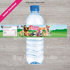Masha and the Bear Happy Birthday, Thank You for coming, Water Bottle Label… Bear Birthday, Birthday Thank You, 2nd Birthday Parties, Happy Birthday Me, Birthday Ideas, Marsha And The Bear, Robocar Poli, Handmade Invitations, Bear Party